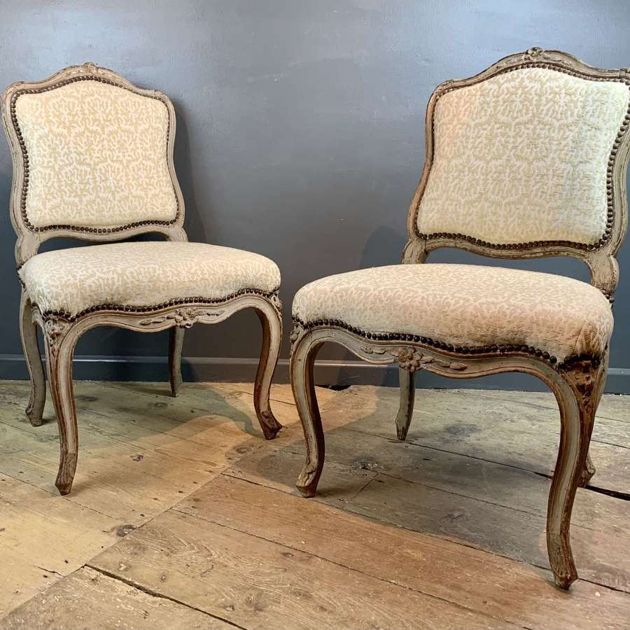 Pair of French 18th Century Louis XV Style Chairs in Original Paint