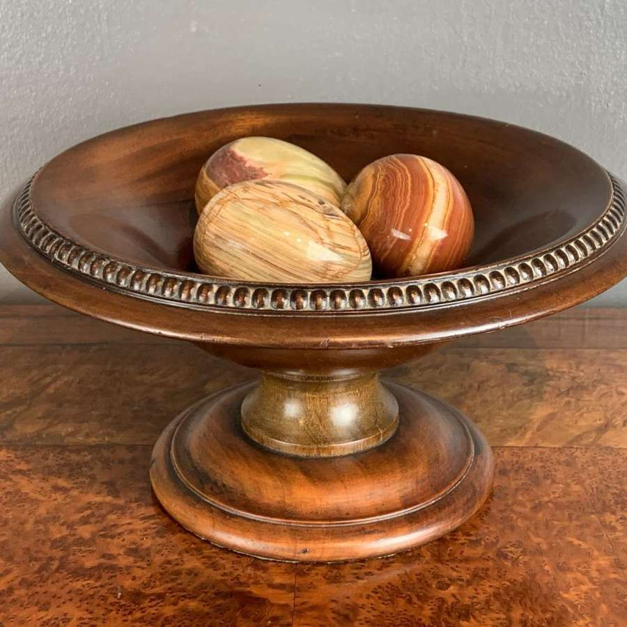 Edwardian Turned Mahogany Comport with Gadrooned Rim