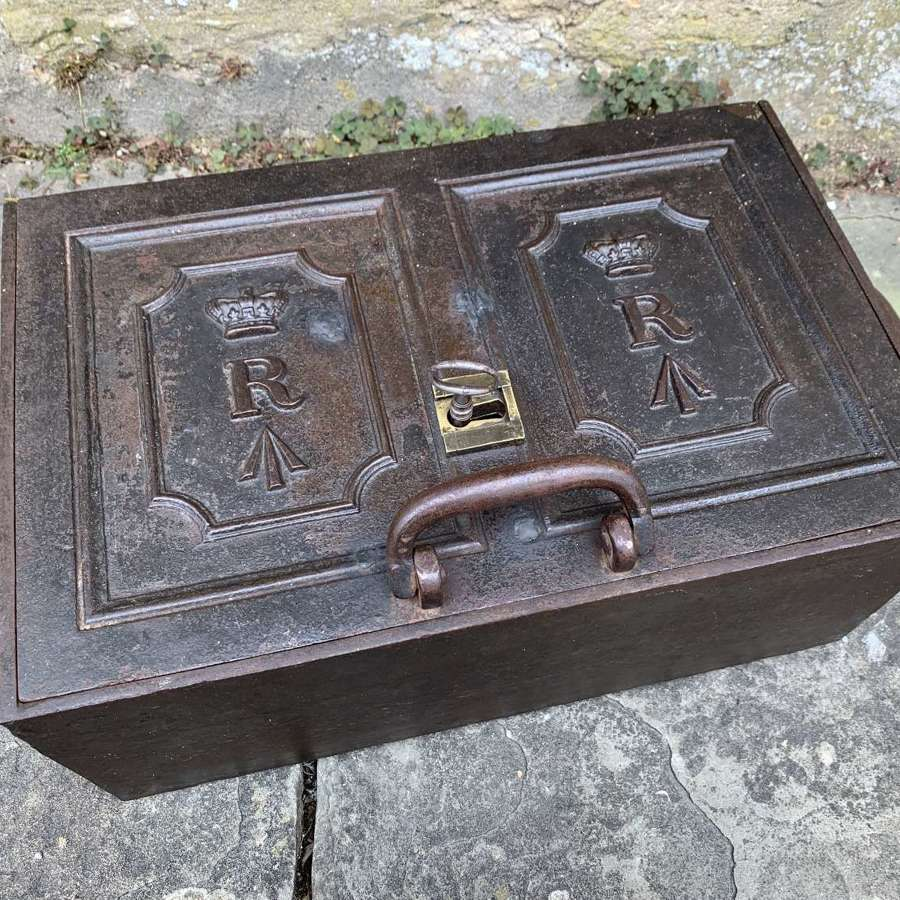Georgian Cast Iron Military Revenue / Paymasters Chest