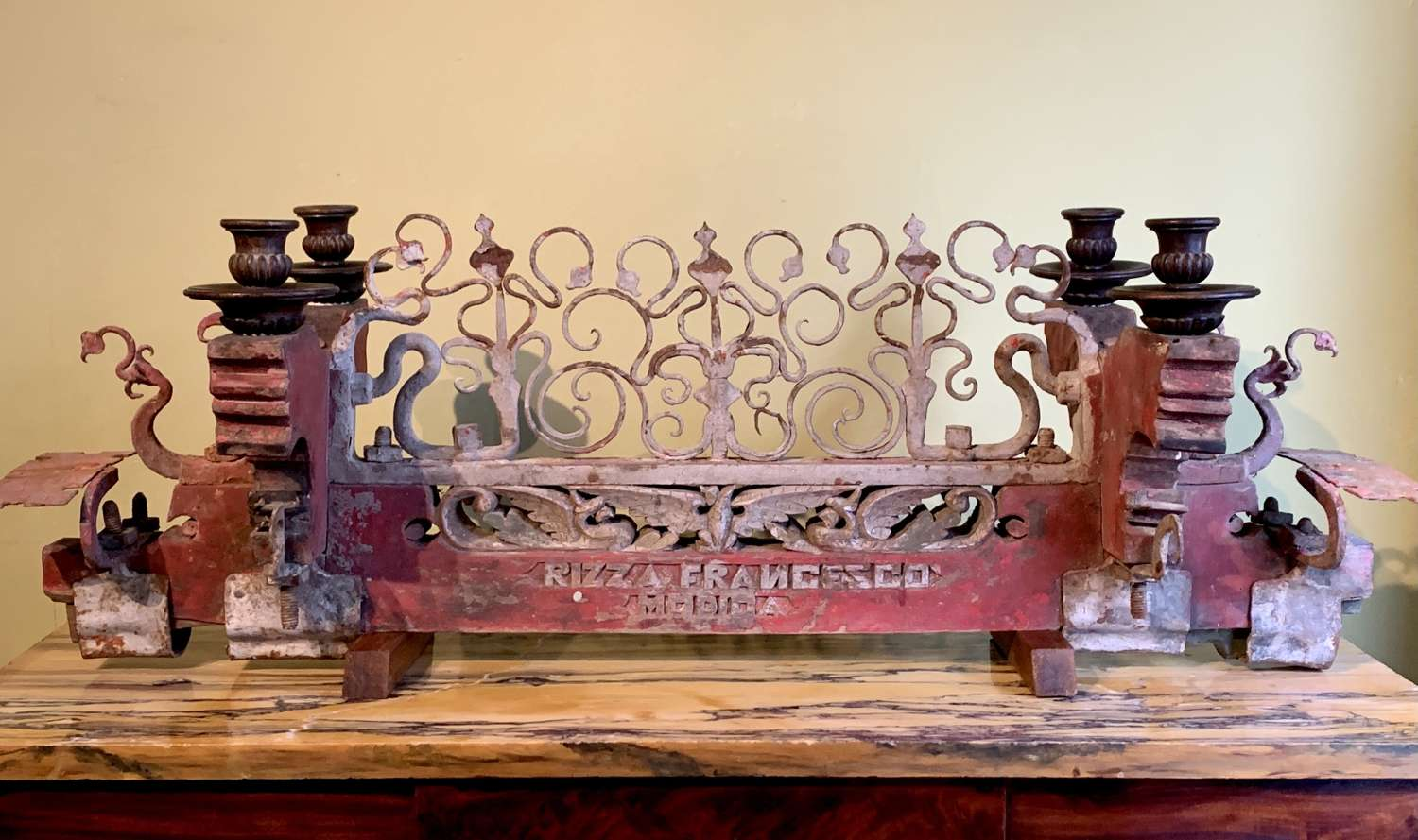 Antique Sicilian Wrought Iron & Painted Cart Axle Candelabra