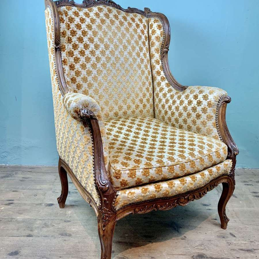 Antique French Louis XV Revival Wingback Armchair