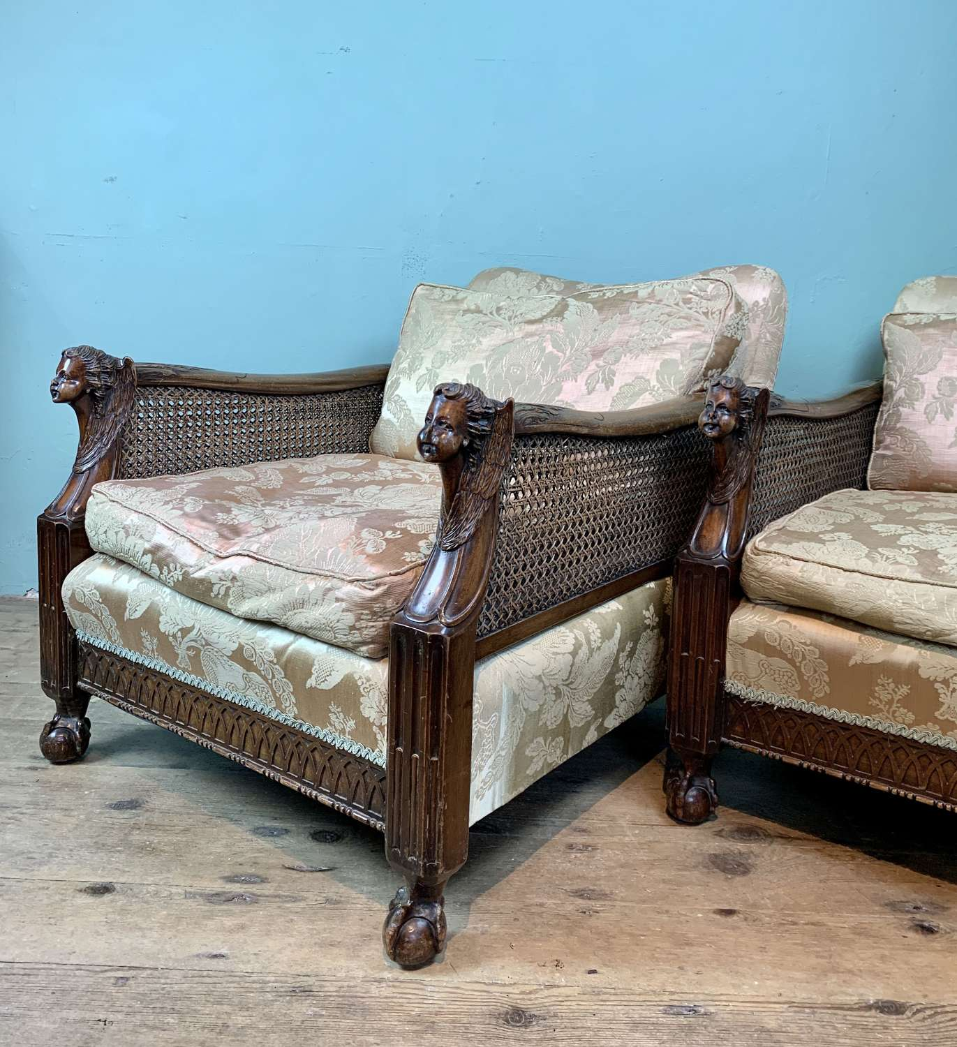 Pair of Edwardian Bergere Double Caned Armchairs