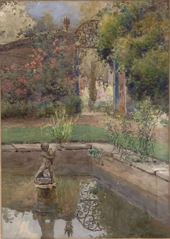 Charles Edwin Flower Watercolour of an Ornamental Pond in a Garden
