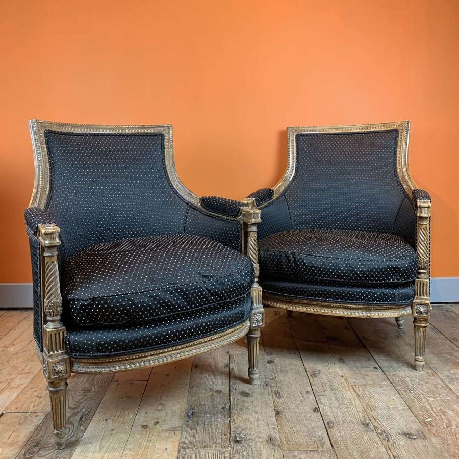 Pair of 19th Century French Louis XVI Revival Fauteuils
