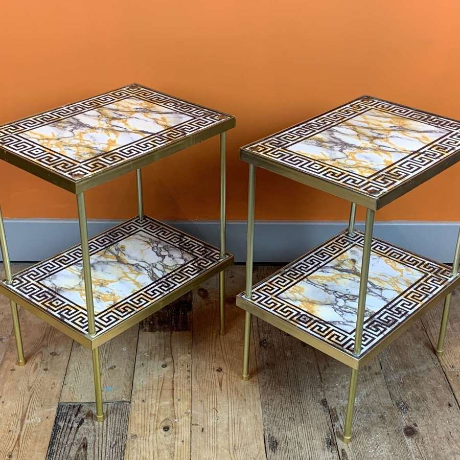 Pair of 1960's Key Pattern Faux Marble Two Tier Side Tables
