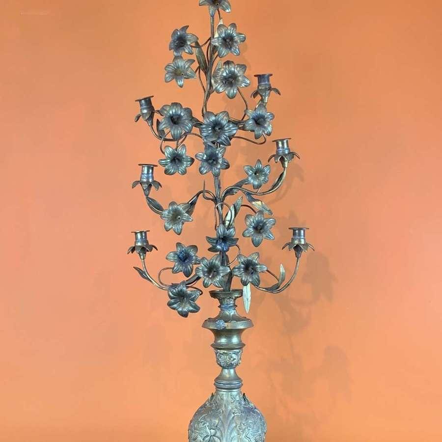 French Gilt Metal Floral Church Altar Candelabra