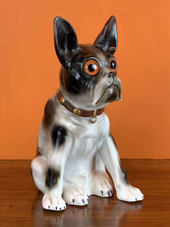 Art Deco Porcelain French Bulldog Perfume Lamp