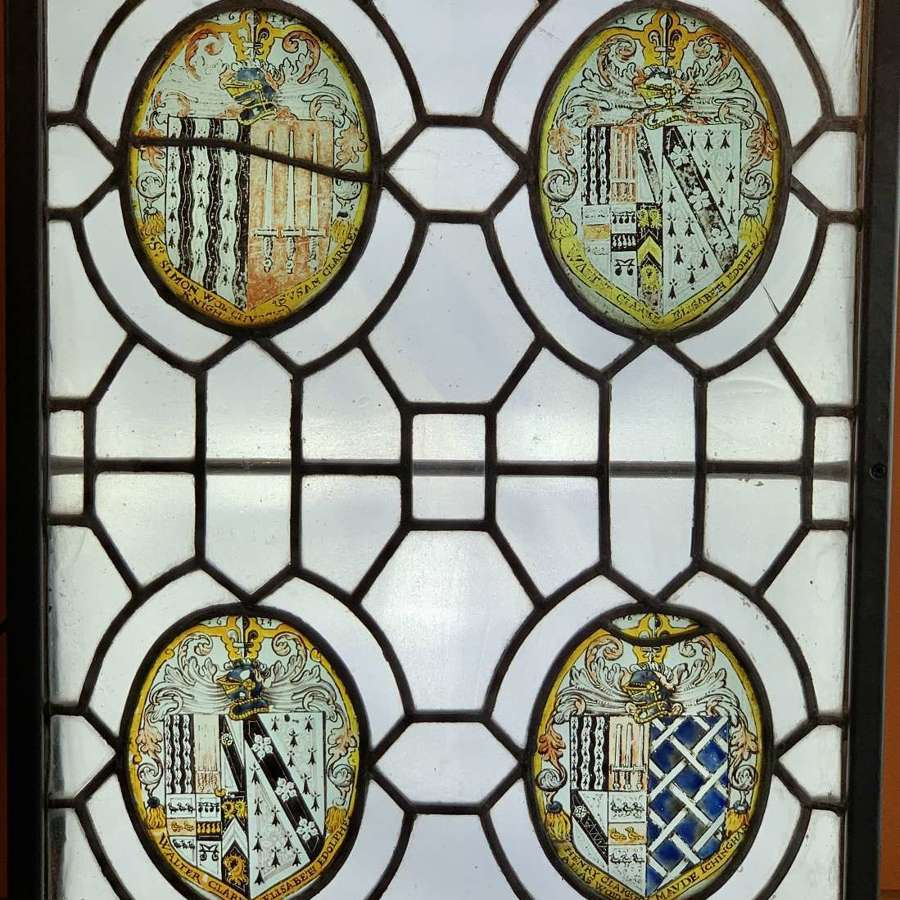 Stained Glass Armorial Window Panel Dated 1614