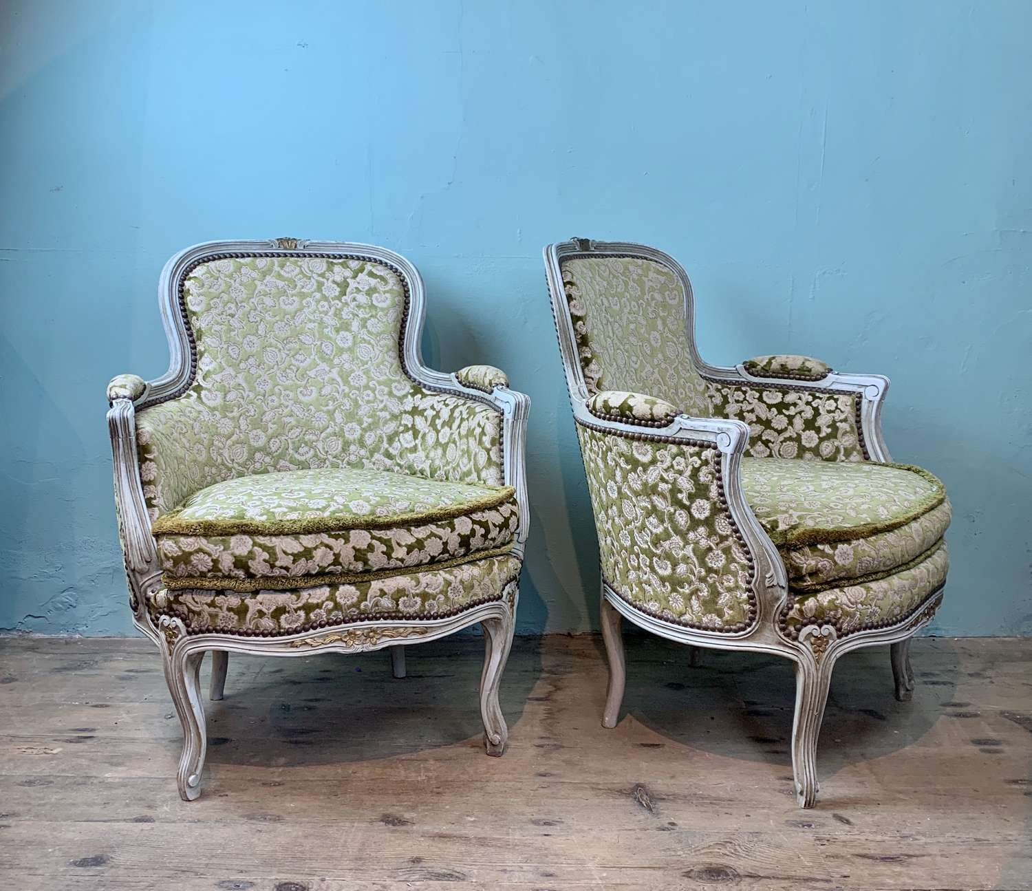 Pair of French Louis XV Revival Tub Armchairs