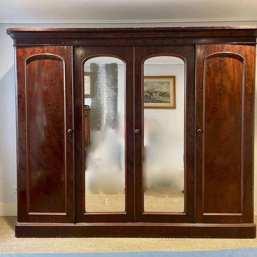 Large Victorian Mahogany Compactum Wardrobe