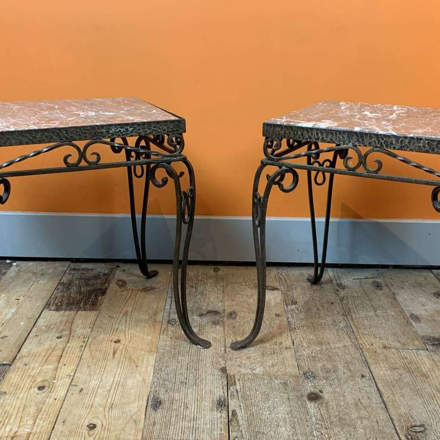 Pair of French 1940's Wrought Iron & Marble Side Tables